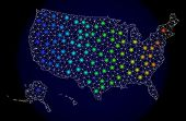 Mesh Vector Map Of Usa Territories With Glare Effect. Light Spots Have Bright Spectrum Colors. Abstr poster