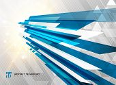 Abstract Perspective Technology Geometric Blue Color Shiny Motion Background And Lines Texture With  poster