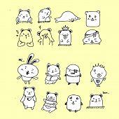 Vector Set Of Safari Animals. Set Includes Tiger, Giraffe, Monkey, Lion And Tiger. Vector Jungle Ani poster
