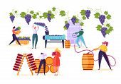 Winery Factory. Wine Production Process Set. Winemaker Character Crushing Fermentation Bottling Red  poster
