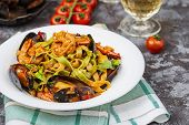 Homemade Italian Seafood Pasta With Mussels And Shrimp poster