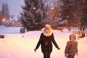 Mother Child Play Park Winter Snow Joy poster