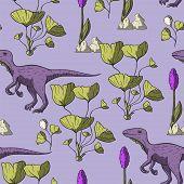 Theropod Dinosaur Seamless Pattern. . Jurassic And Cretaceous Animal. Prehistoric Vector Dino Seamle poster