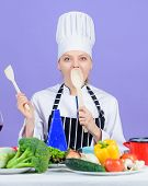 Cooking Healthy Food. Woman Chef Cooking Healthy Food. Fresh Vegetables Ingredients For Cooking Meal poster