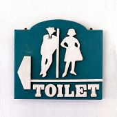 Bathroom Sign, Public Sign Toilet Male-female Old Vintage Style On The Wall Of White Cement, Toilet  poster