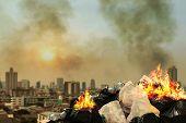 Burn Lot Waste Front City Community, Garbage Bin Pile Dump Lots Of Junk Polluting Burning Heap Smoke poster