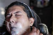 Painful Plucking And Removal Of Upper Lip Hairs Of A Lady With Threading. Epilation Cosmetic Procedu poster