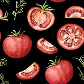 Seamless Pattern With Red Tomato - Whole, Half, Slices And Segments, Watercolor Illustration On Blac poster