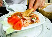 stock photo of poblano  - A succulent plate of Mexican ceviche with shrimp and tomato cooked by lime juice - JPG