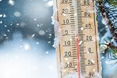 Thermometer On Snow Shows Low Temperatures In Celsius Or Farenheit poster
