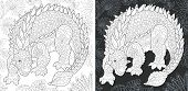 Coloring Page. Dinosaur Collection. Colouring Picture With Ankylosaurus Drawn In Zentangle Style. poster