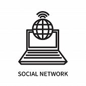 Social Network Icon Isolated On White Background. Social Network Icon Simple Sign. Social Network Ic poster