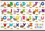 Cartoon Illustration Of Capital Letters Alphabet Set With Animal Characters For Reading And Writing  poster