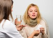 Recognize Symptoms Of Cold. Remedies Should Help Beat Cold Fast. Woman Consult With Doctor. Girl In  poster