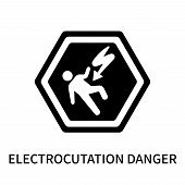 Electrocutation Danger Icon Isolated On White Background. Electrocutation Danger Icon Simple Sign. E poster