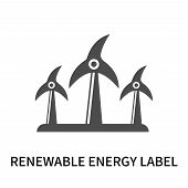 Renewable Energy Label Icon Isolated On White Background. Renewable Energy Label Icon Simple Sign. R poster