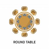 Round Table Icon Isolated On White Background. Round Table Icon Simple Sign. Round Table Icon Trendy poster