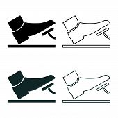 Foot Pushing The Pedal Gas Pedal Brake Pedal Auto Service Concept Icon Set Grey Black Color Vector I poster