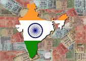 pic of mahatma gandhi  - Map of India with Indian Rupees illustration - JPG
