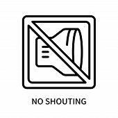 No Shouting Icon Isolated On White Background. No Shouting Icon Simple Sign. No Shouting Icon Trendy poster