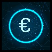 Euro Currency Logo Digital Financing Icon Vector. European Money Coin And Dots, Financial Issues And poster
