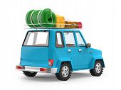 Small 3d Blue Suv Adventure With Luggage On Roof, Back View. 3d Illustration poster