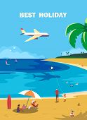 Summer Seaside Landscape. Blue Ocean Scenic View Poster. Hand Drawn Cartoon Retro Style. Holiday Fam poster
