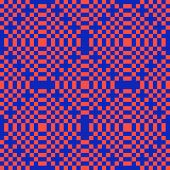Vector Geometric Seamless Pattern With Squares. Red And Blue Checkered Texture poster