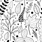 Vector Seamless Pattern With  Hand Drawn Leaves And Dots. Autumn Mood. Floral Graphic Design.  Hand  poster
