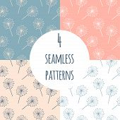 Hand Drawn Dandelion Vector Seamless Pattern Set. Endless Pattern For Wallpaper, Pattern Fills, Web  poster