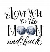 Watercolor Card With Moon. Hand Drawn I Love You To The Moon And Back Card With Lettering And Blue M poster