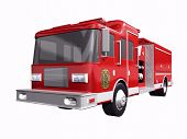 stock photo of fire truck  - 3d Fire truck on a white background - JPG