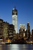 image of freedom tower  - New York city the Freedom tower at twilight - JPG