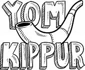image of atonement  - Doodle style Jewish holiday Yom Kippur icon with lettering and shofar  - JPG