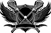 Lacrosse Sticks Ornate Graphic Vector Template
