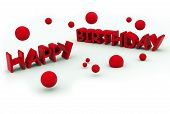 picture of happy birthday  - happy birthday red text on white background - JPG