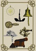 image of wind-rose  - set of ancient naval supplies and tools in a frame of rope - JPG