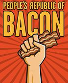 image of communist symbol  - Vector Illustration of a fist holding bacon in the style of Russian Constructivist propaganda posters - JPG