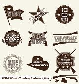 stock photo of shotguns  - Collection of retro style western cowboy labels and badges - JPG
