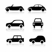 stock photo of beetle car  - Set of 6 car icon variations on white background - JPG