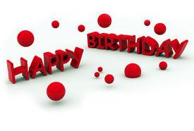 foto of happy birthday  - happy birthday red text on white background - JPG