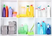 stock photo of disinfection  - Shelves in pantry with  cleaners for home close - JPG