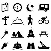 stock photo of caravan  - Camping and recreation icon set in black - JPG