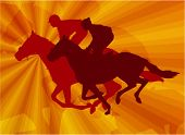 foto of saddle-horse  - jockeys riding horses on the abstract background - JPG