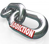 The word Addiction on chain links to illustrate the obsession, craving and affliction of the habits