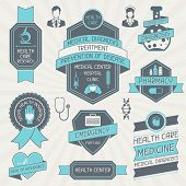 stock photo of emergency treatment  - Set of medical labels and tags - JPG