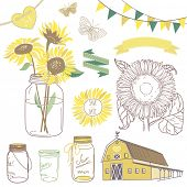 Glass Jars, sunflowers, ribbons, bunting, butterflies and cute rustic barn. Ideal for wedding invita