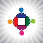Colorful Company Executives Team Meeting- Simple Vector Graphic
