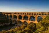 stock photo of aqueduct  - Panorama of roman aqueduct Pont Du Gard Provence France - JPG