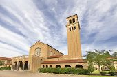 stock photo of benediction  - Historic Mount Angel Abbey Catholic Church in St Benedict Oregon Against Blue Sky and Clouds - JPG